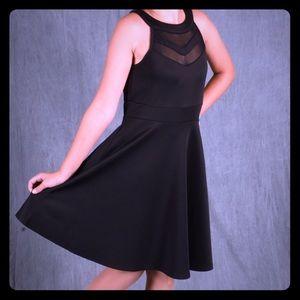 Black, Girls 12 Mesh Inset Dress LOVE, NICKIE LEW